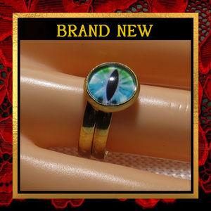 Blue Dragon Eye Golden Ring Set  #431